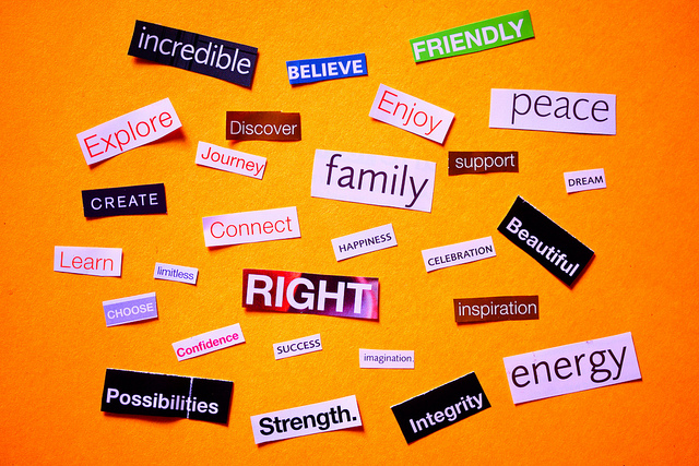 The Power of Affirmations (Positive words collage for optimists (CC))
