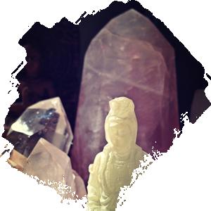 Rose quartz and clear quartz stones